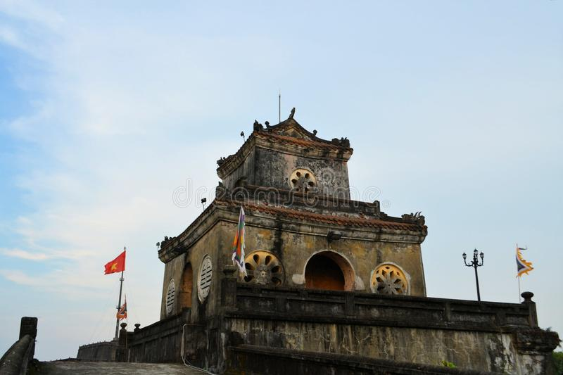 Watch tower at Imperial City in Hue, Vietnam. A gate with a watch tower at the Imperial City in Hue, Vietnam. The citadel was oriented to face the Huong River to stock photos