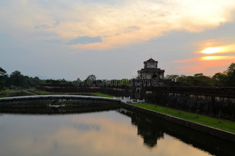 Watch tower at Imperial City in Hue, Vietnam. A gate with a watch tower at the Imperial City in Hue, Vietnam. The citadel was oriented to face the Huong River to royalty free stock photos