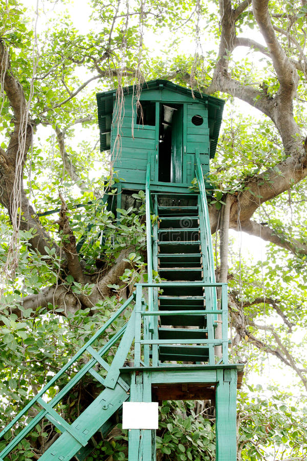 Watch tower at Jhirna Forest, Jim Corbett. Watch tower is used to provide safe and high place to observe the surroundings stock photo