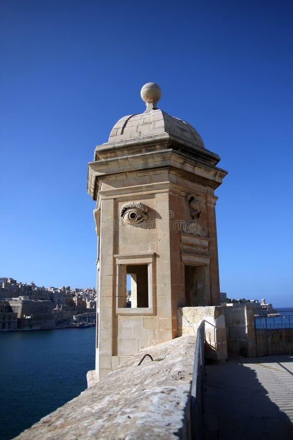 Watch tower, La Valletta, Malta. Watch tower in Valletta's fortifications, La Valletta, Malta royalty free stock photos