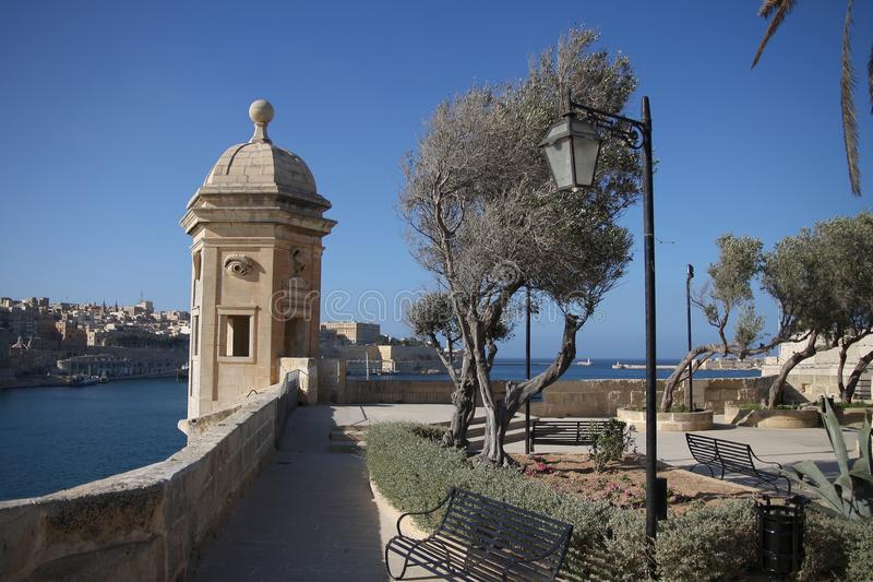 Watch tower, La Valletta, Malta. Watch tower in Valletta's fortifications, La Valletta, Malta stock photo