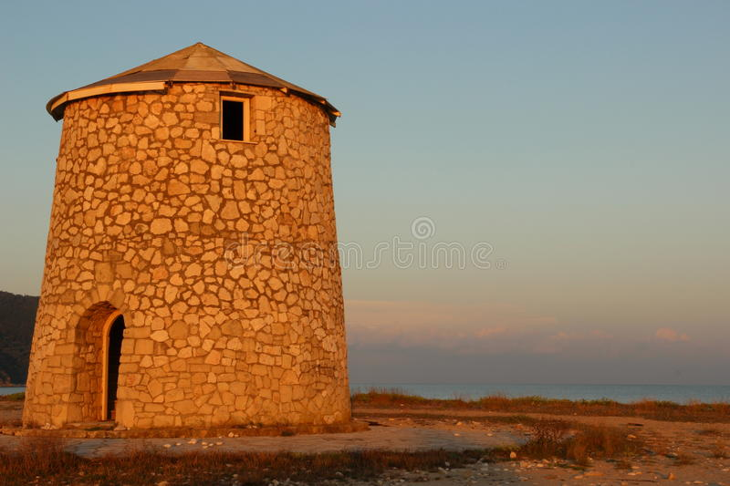 Watch tower on Lefkada beach. A color image of a watch tower on Lefkada beach on the island of Lefkada, Greece stock images