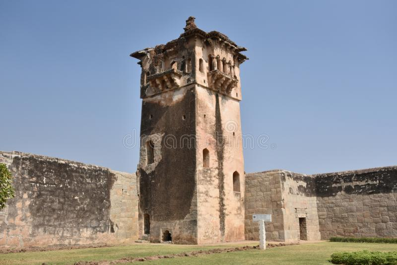 Watch tower, Lotus Mahal, Hampi, Karnataka. Watch tower, Lotus Mahal at Hampi, Karnataka, India royalty free stock photos