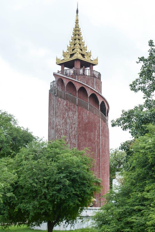 Watch tower in Mandalay Palace, Myanmar. (burma royalty free stock photos