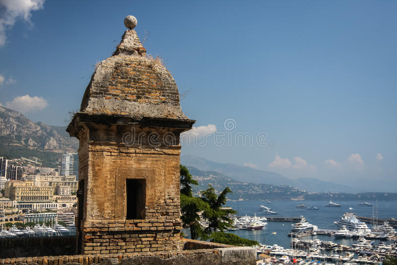 Watch tower in Monaco. Watch tower, part of Monaco defensive constructions royalty free stock photos