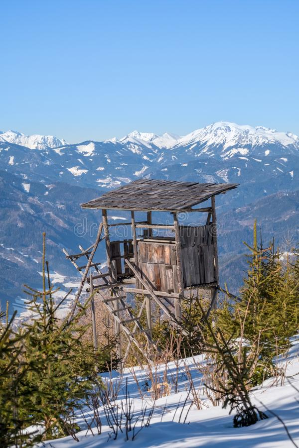 Watch tower on mountain snowy Rennfeld view to mountain Hochturm. Watch tower on snowy mountain Rennfeld view over valley Muerztal to mountains Hochturm and stock photography