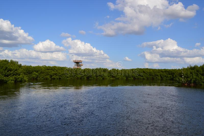 Watch tower overlooking a small bay in Florida. Watch tower overlooking a small bay by the mangroves in Florida stock photography