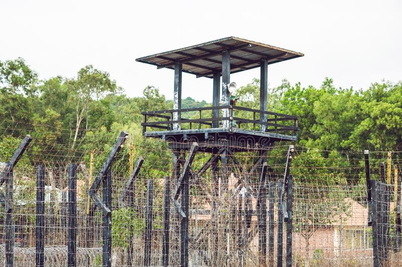 Watch tower at the Prison in the tropics.  royalty free stock images
