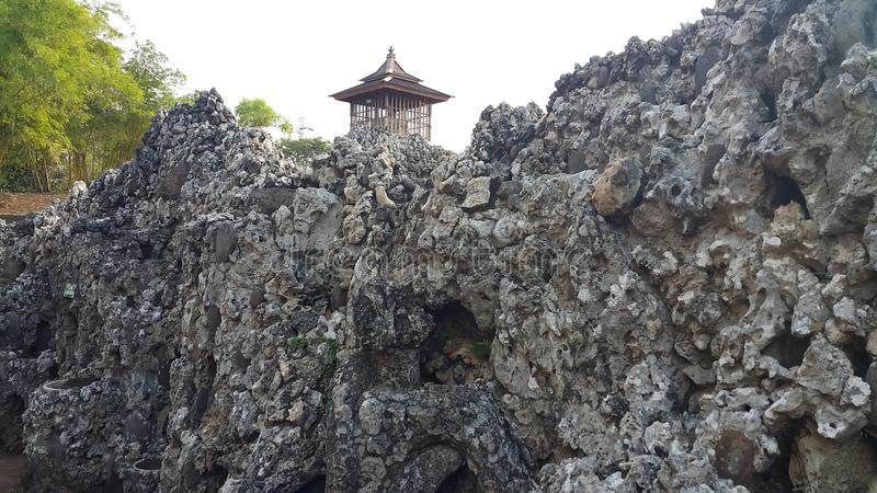 Watch tower on rock. Formation in Cirebon, West Java, Indonesia stock photo