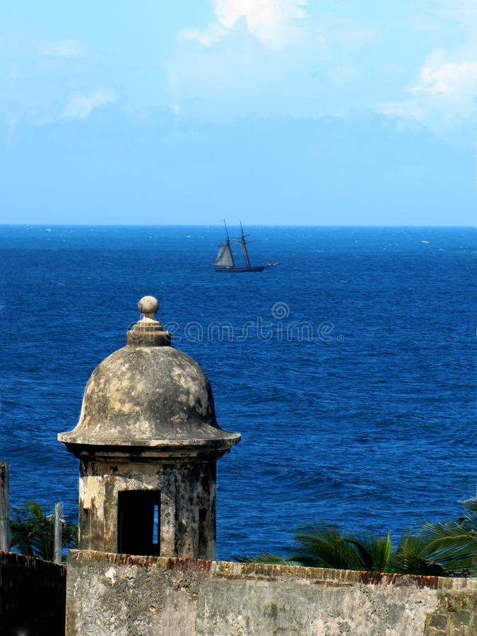 Watch tower at the San Cristobal fortress in San Juan. Puerto Rico royalty free stock photos