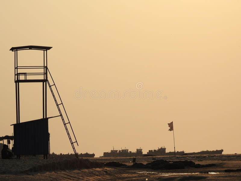 Watch Tower and ship royalty free stock photo