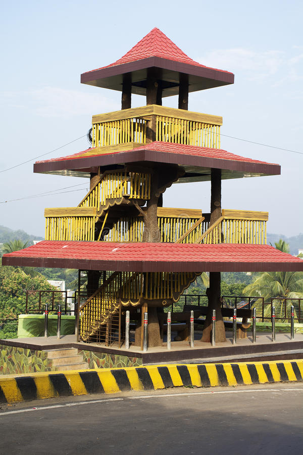 Watch tower on Taljai Hills. A three level watch tower in Taljai Hills, Pune, India royalty free stock photos