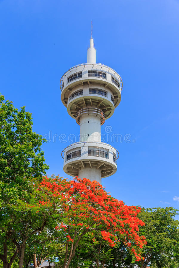 Watch tower in thailand. Watch tower suphanburi thailand with blue sky stock image