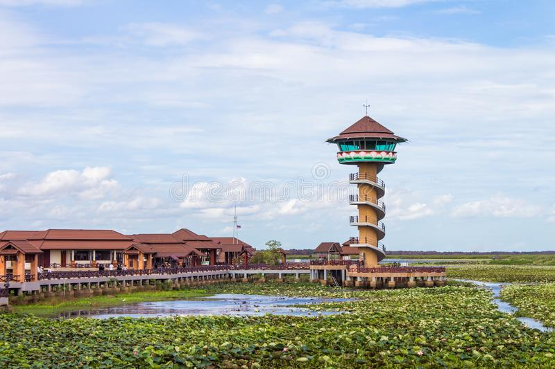 Watch tower at Thale Noi national park, Phatthalung Province, Thailand. Watch tower for traveler at Thale Noi national park, Phatthalung Province, Thailand stock images