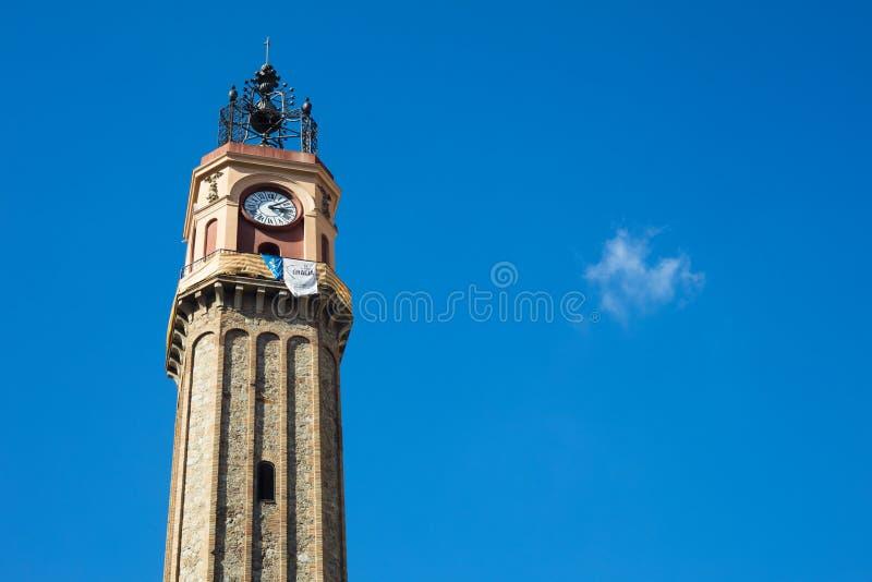 Watch tower in Vila de Gracia Square in Barcelona, Catalonia, Sp. Ain royalty free stock photos