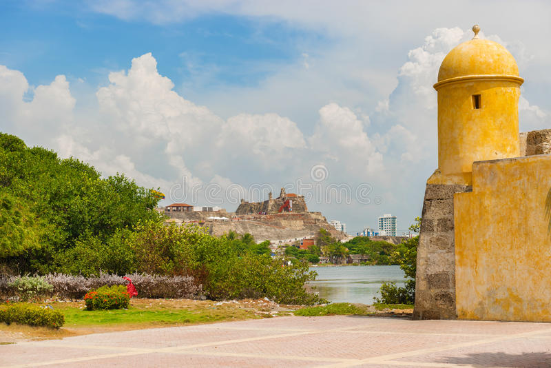 Watch Tower in the wall surrounding Getsemani and facing Castillo San Felipe de Barajas an iconic fortress in Cartagena, Colombia. Cartagena, Colombia - March royalty free stock image