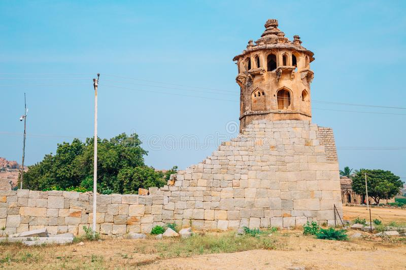 Watch Tower at Zanana Enclosure, Hampi, India. Watch Tower at Zanana Enclosure in Hampi, India royalty free stock photos