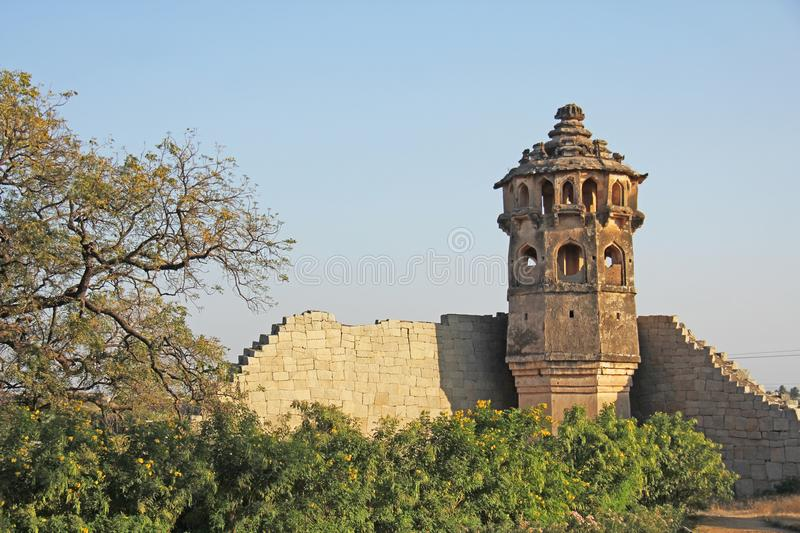 Watch tower of Zanana enclosure at Hampi - a UNESCO World Heritage Site located in Karnataka, India. Sights of the ruins of Hampi.  royalty free stock photography
