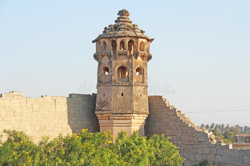 Watch tower of Zanana enclosure at Hampi - a UNESCO World Heritage Site located in Karnataka, India. Sights of the ruins of Hampi.  royalty free stock photos