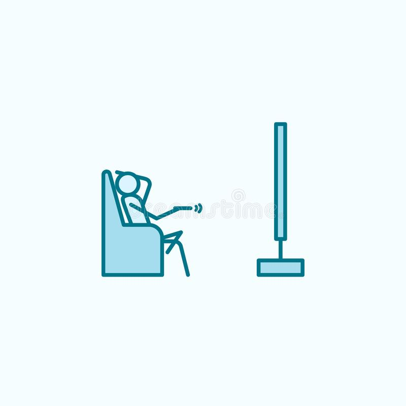 watch TV outline icon stock illustration