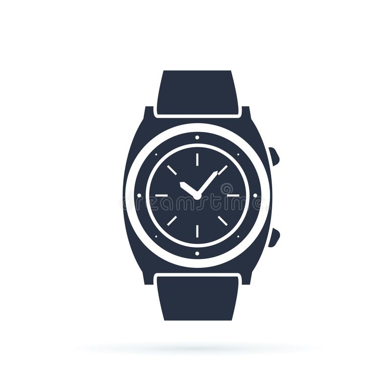 Watch vector icon isolated on white. Luxury man watches icon. Classic wrist chronograph clock . Mechanical wristwatch. royalty free illustration