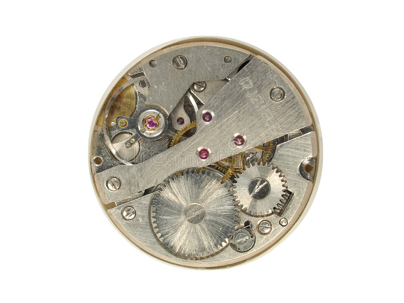 Watch Works. Watch workings with cogs and springs royalty free stock photos