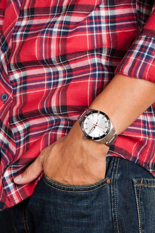 Watch on wrist. Closeup beauriful luxury watch on man`s wrist stock photos