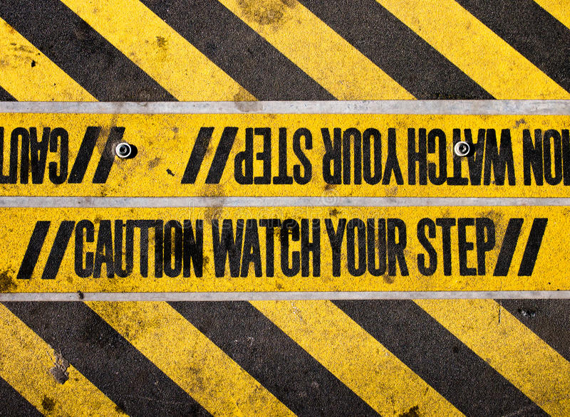 Watch your step stock photos