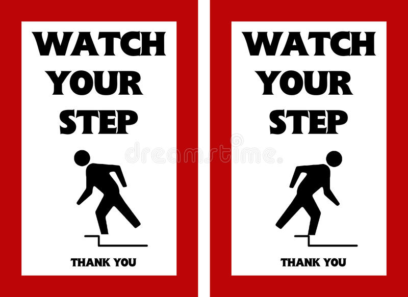 Download Watch Your Step Warning Sign  Tripping Hazard Stock Illustration - Illustration of prevention, ahead: 47901564