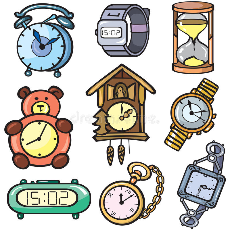 Watches and clock icons set. Isolated on white royalty free illustration