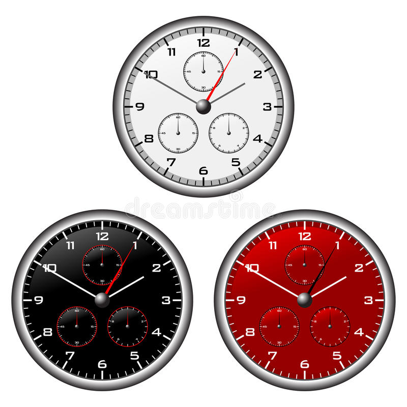 Watches dials. With different face colours over white stock illustration