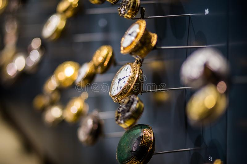 Watches on display stock photos