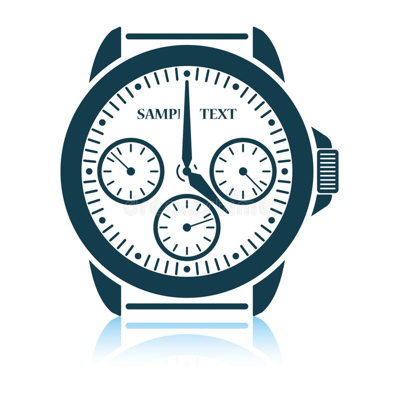 Watches icon. Shadow reflection design. Vector illustration royalty free illustration