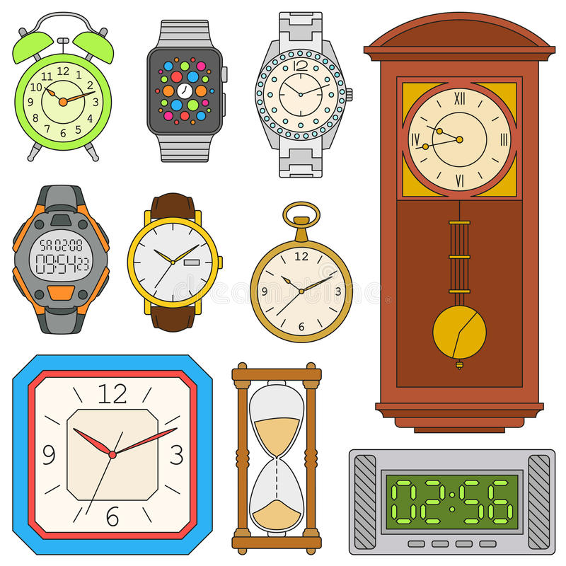 Watches set. Colorful vector illustration stock illustration