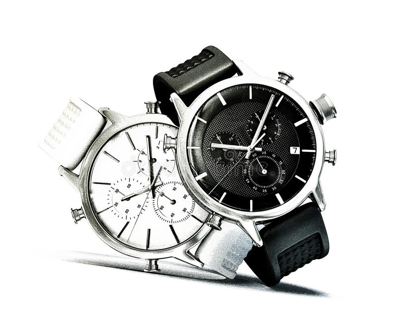 Watches. Sketch watches on a white background stock illustration