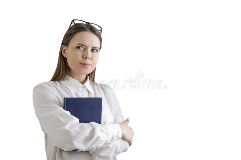 Watchful woman with a book, isolated royalty free stock photos