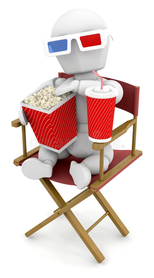 Watching 3D films royalty free illustration