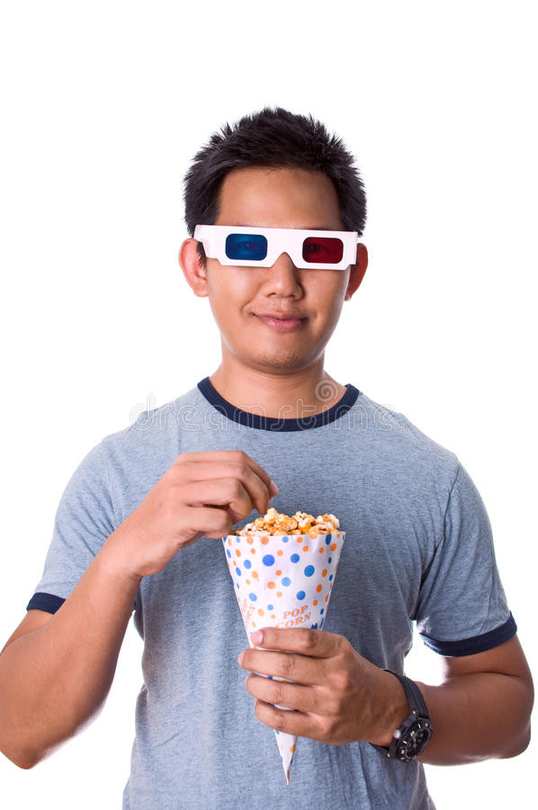 Download Watching 3D movies stock photo. Image of dimension, eating - 15306146