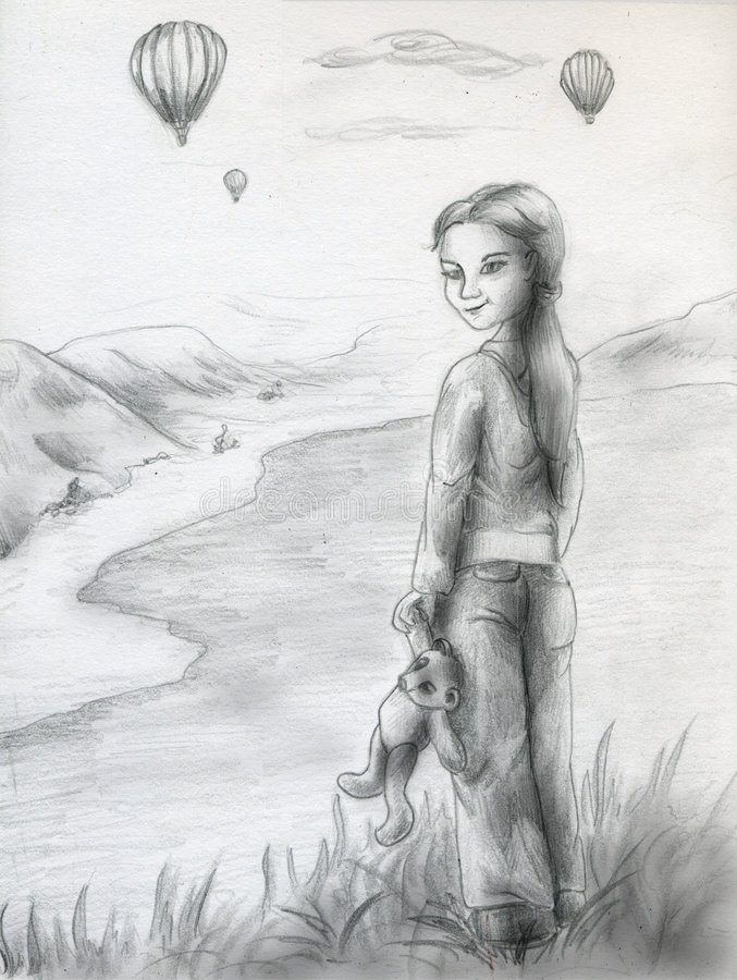 Watching for balloons - sketch