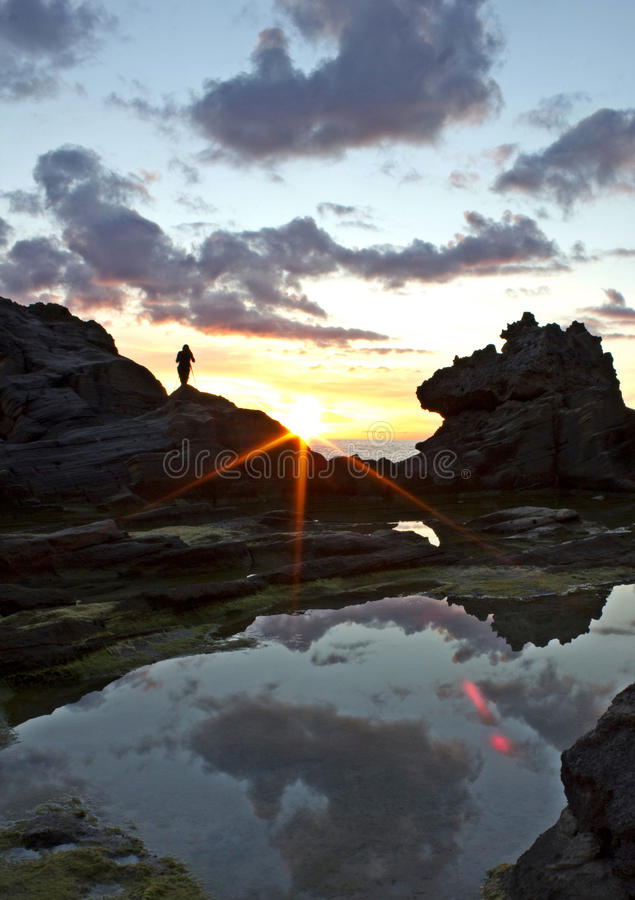 Watching beautiful sunset royalty free stock photography