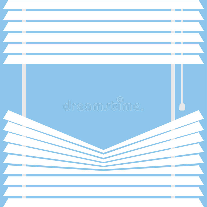 Watching through the blinds. Parted blinds on a blue background, vector illustration royalty free illustration