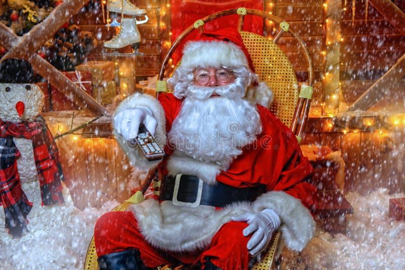 Watching christmas movie royalty free stock image