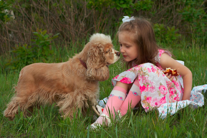 Watching closely. Girl eating a bun sitting on a grass and her dog watching closely at it royalty free stock image