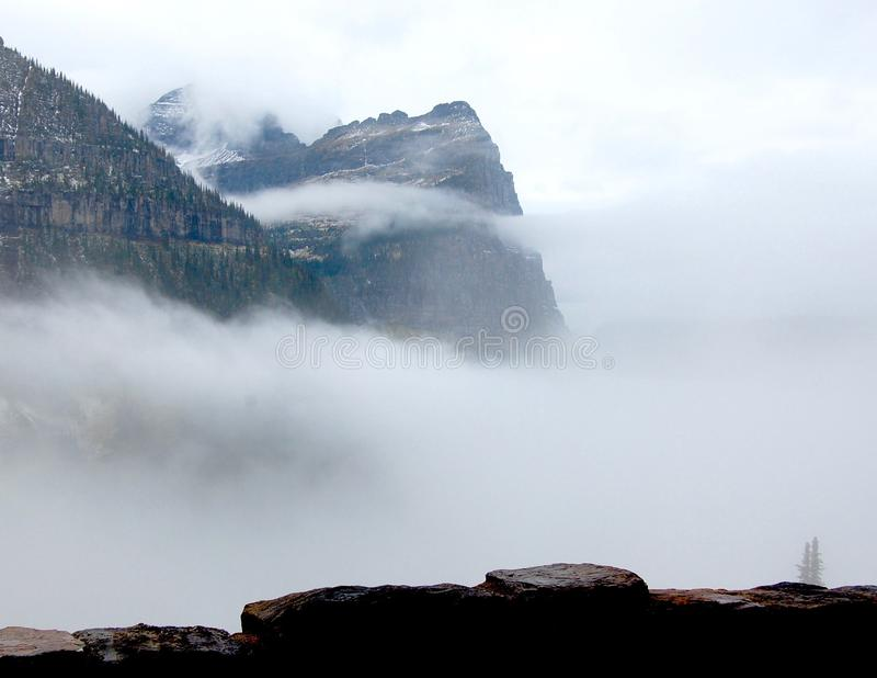 Watching Clouds Roll in from a Viewing Station on `Going to the Sun Road` royalty free stock image