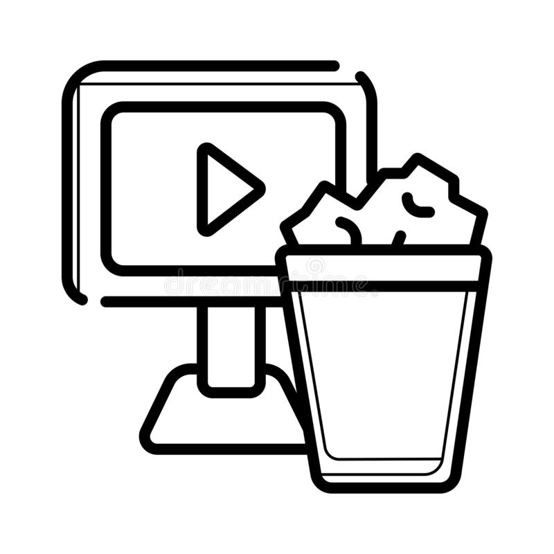 Watching film on monitor icon vector illustration