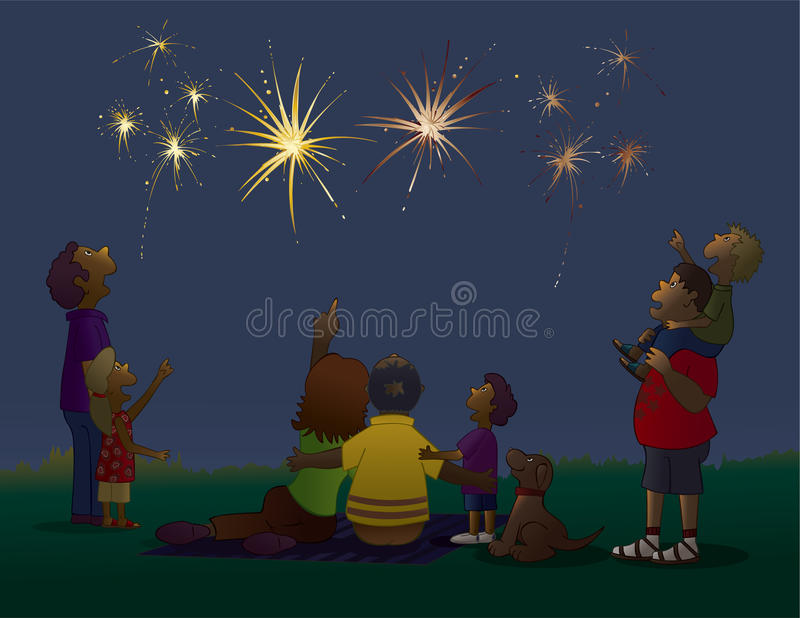 Watching Fireworks. Vector art in Illustrator 8. The best summertime activity, watching the fireworks on July 4th. A real American family tradition. Color vector illustration