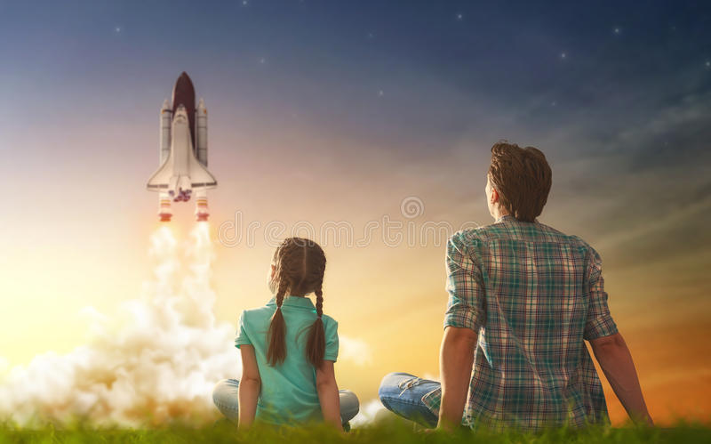 Watching how to fly a spaceship stock image
