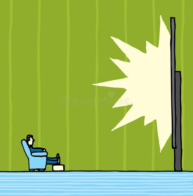 Download Watching huge tv screen stock illustration. Image of sofa - 31833350