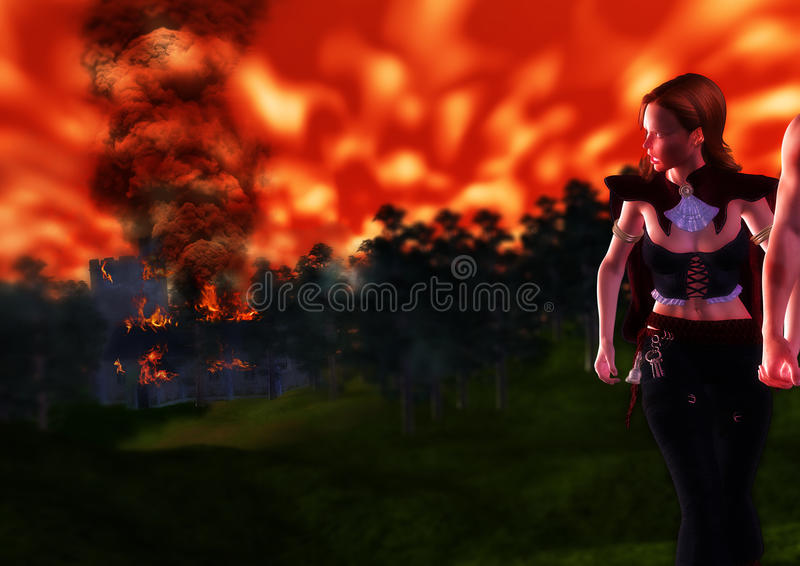 Watching the Inferno Swallowing Home From Distant royalty free stock image