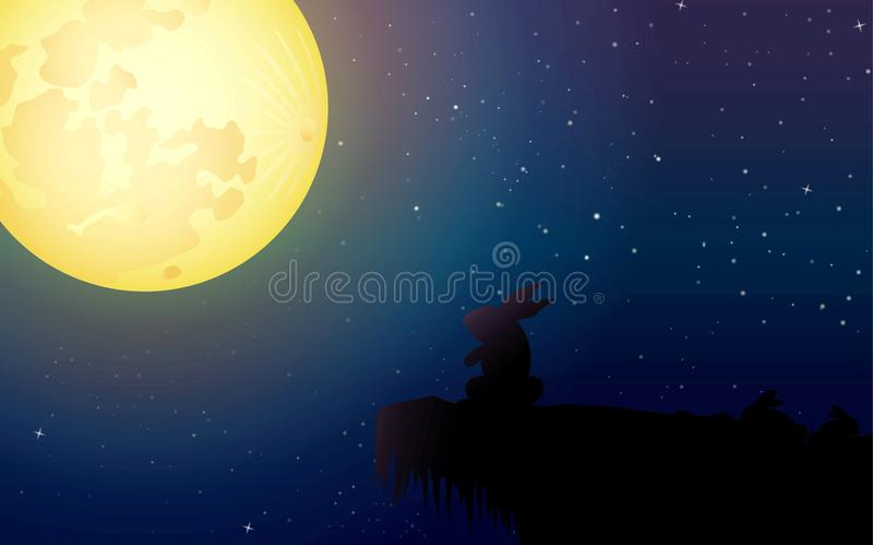 Watching The Moon. Art for decoration artwork - vector royalty free illustration